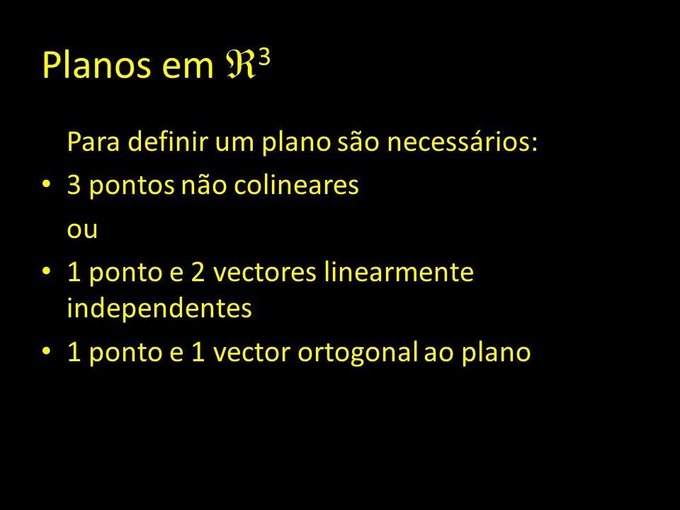 Planos em  3 Para definir um plano são necessários: 3 pontos não colineares ou 1 ponto e 2 vectores linearmente independentes 1 ponto e 1 vector orto