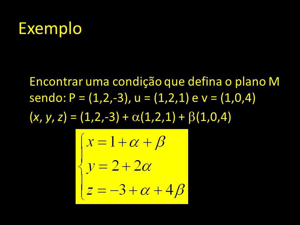 Exemplo Encontrar uma condição que defina o plano M sendo: P = (1,2,-3), u = (1,2,1) e v = (1,0,4) (x, y, z) = (1,2,-3) +  (1,2,1) +  (1,0,4)