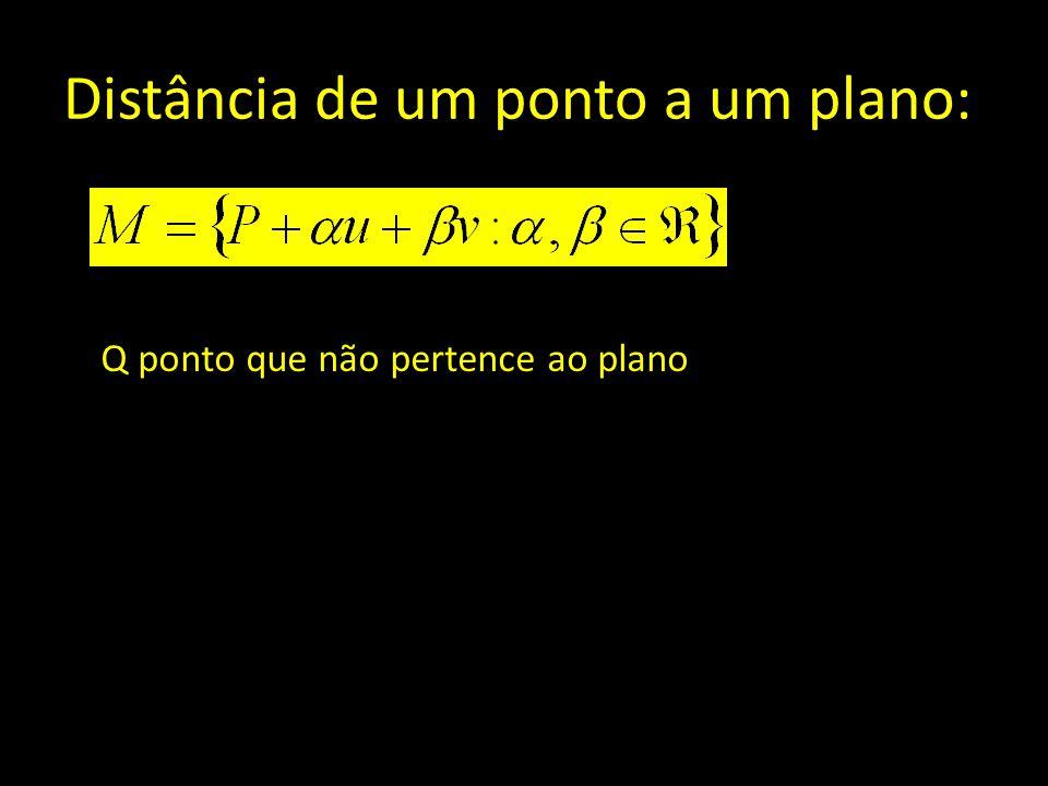 Distância de um ponto a um plano: Q ponto que não pertence ao plano