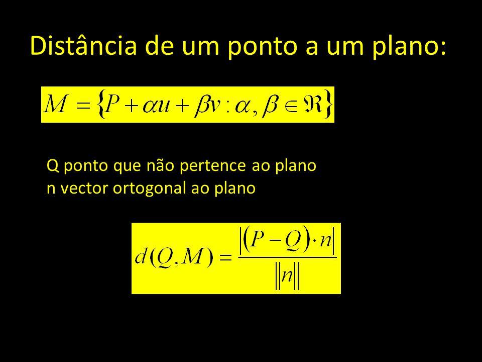 Distância de um ponto a um plano: Q ponto que não pertence ao plano n vector ortogonal ao plano