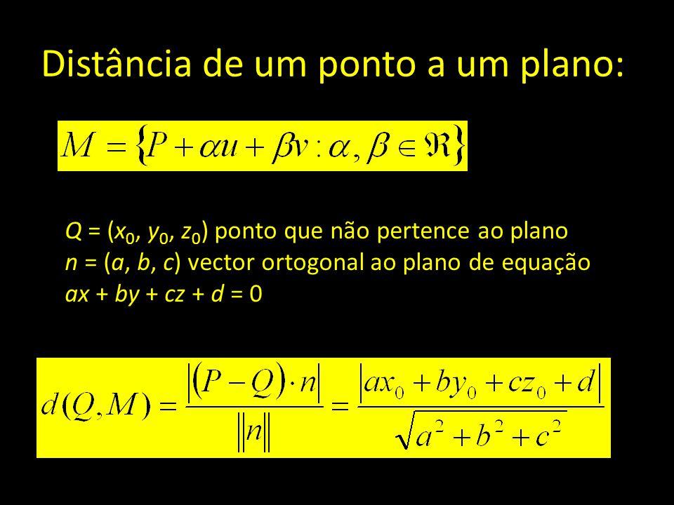 Distância de um ponto a um plano: Q = (x 0, y 0, z 0 ) ponto que não pertence ao plano n = (a, b, c) vector ortogonal ao plano de equação ax + by + cz
