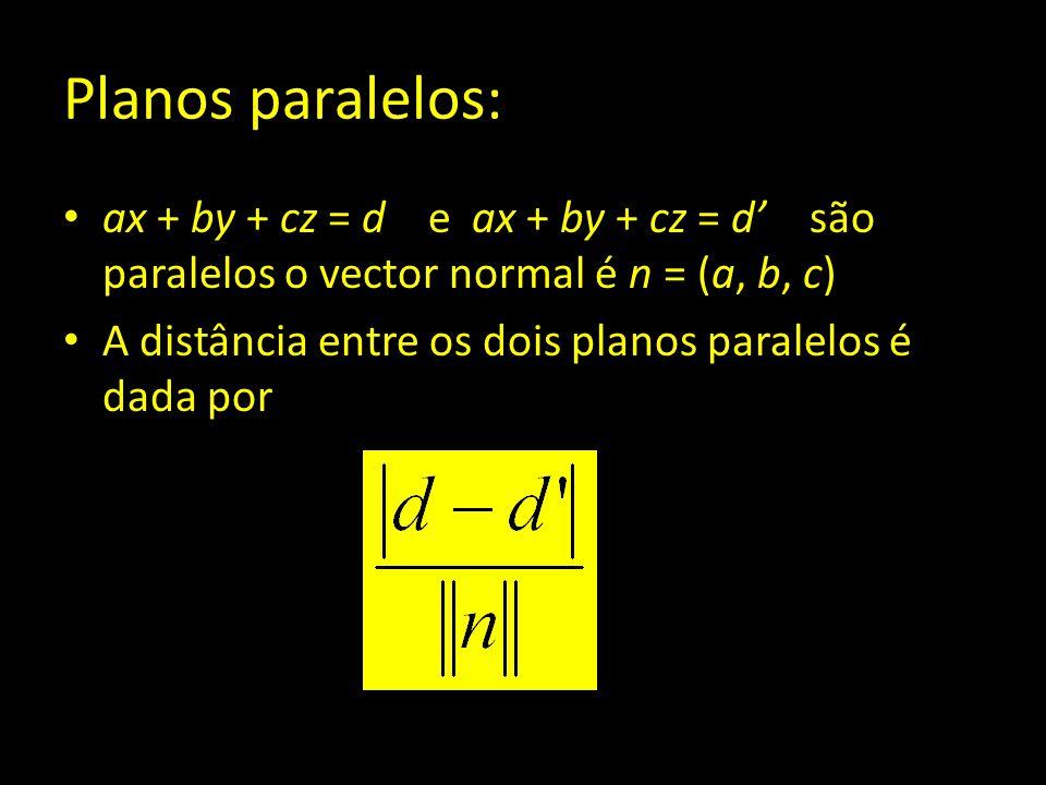 Planos paralelos: ax + by + cz = d e ax + by + cz = d' são paralelos o vector normal é n = (a, b, c) A distância entre os dois planos paralelos é dada