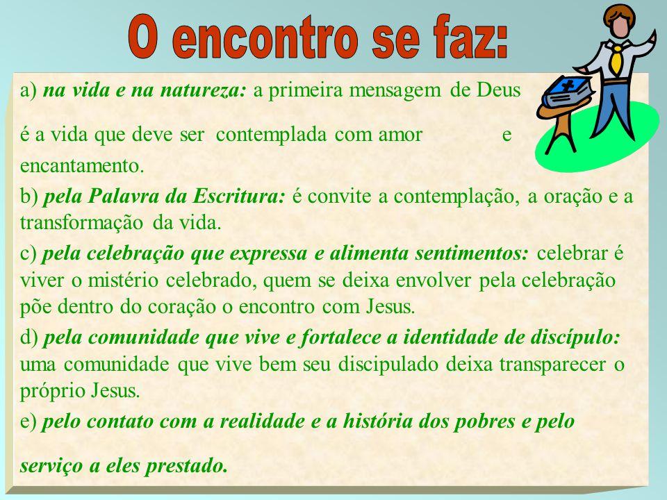 14 a) na vida e na natureza: a primeira mensagem de Deus é a vida que deve ser contemplada com amor e encantamento. b) pela Palavra da Escritura: é co