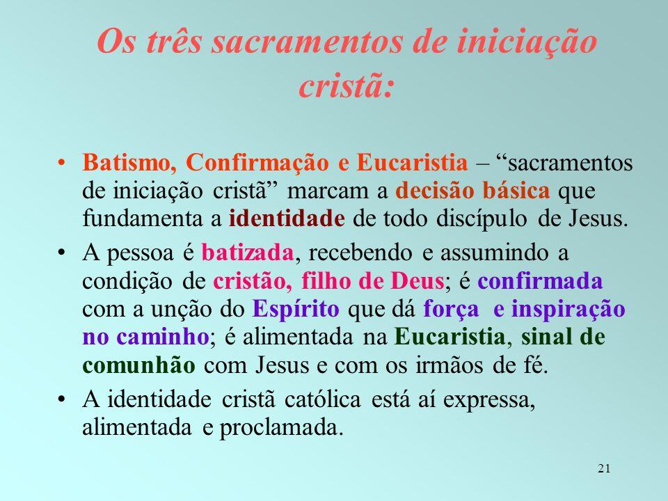 """21 Os três sacramentos de iniciação cristã: Batismo, Confirmação e Eucaristia – """"sacramentos de iniciação cristã"""" marcam a decisão básica que fundamen"""