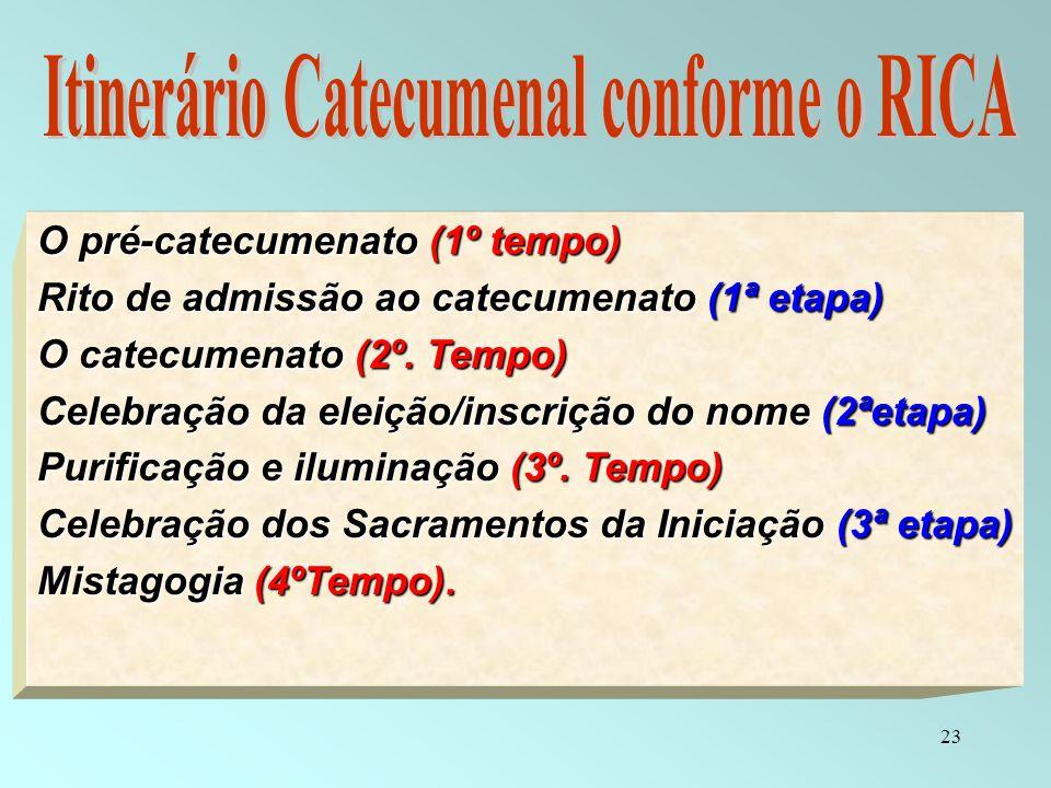 23 O pré-catecumenato (1º tempo) Rito de admissão ao catecumenato (1ª etapa) O catecumenato (2º. Tempo) Celebração da eleição/inscrição do nome (2ªeta