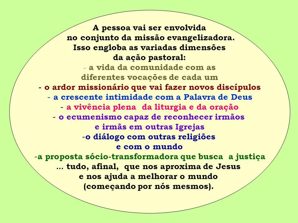 A pessoa vai ser envolvida no conjunto da missão evangelizadora. Isso engloba as variadas dimensões da ação pastoral: - a vida da comunidade com as di