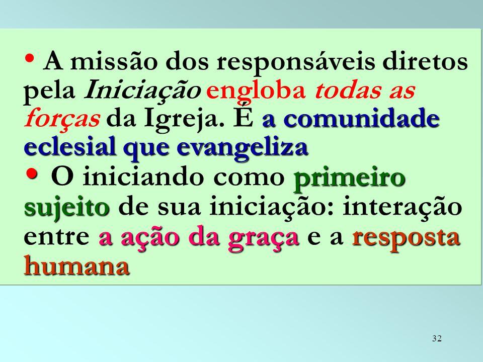 32 a comunidade eclesial que evangeliza A missão dos responsáveis diretos pela Iniciação engloba todas as forças da Igreja. É a comunidade eclesial qu