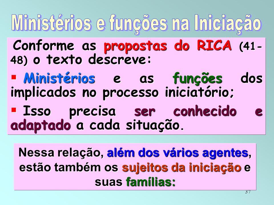 37 Conforme as propostas do RICA (41- 48) o texto descreve: Conforme as propostas do RICA (41- 48) o texto descreve:  Ministérios e as funções dos im