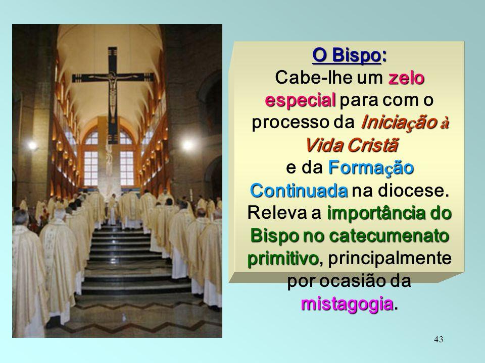 43 O Bispo : zelo especial Inicia ç ão à Vida Cristã Cabe-lhe um zelo especial para com o processo da Inicia ç ão à Vida Cristã Forma ç ão Continuada
