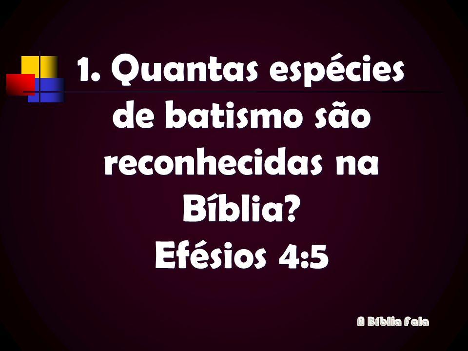 1. Quantas espécies de batismo são reconhecidas na Bíblia? Efésios 4:5