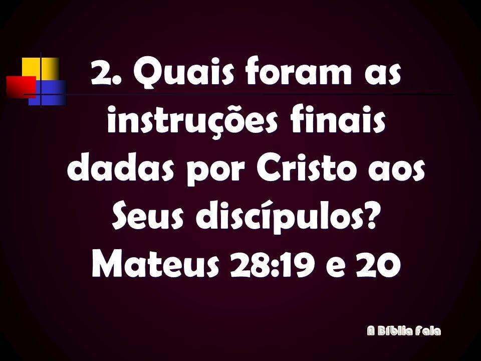 2. Quais foram as instruções finais dadas por Cristo aos Seus discípulos? Mateus 28:19 e 20