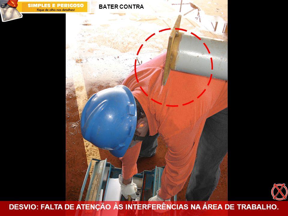 DESVIO: FALTA DE ATENÇÃO ÀS INTERFERÊNCIAS NA ÁREA DE TRABALHO. BATER CONTRA