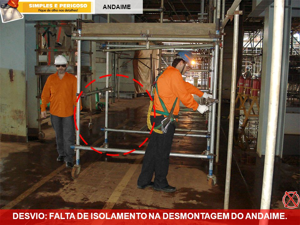 ANDAIME DESVIO: FALTA DE ISOLAMENTO NA DESMONTAGEM DO ANDAIME.