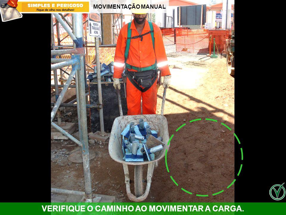 MOVIMENTAÇÃO MANUAL VERIFIQUE O CAMINHO AO MOVIMENTAR A CARGA.