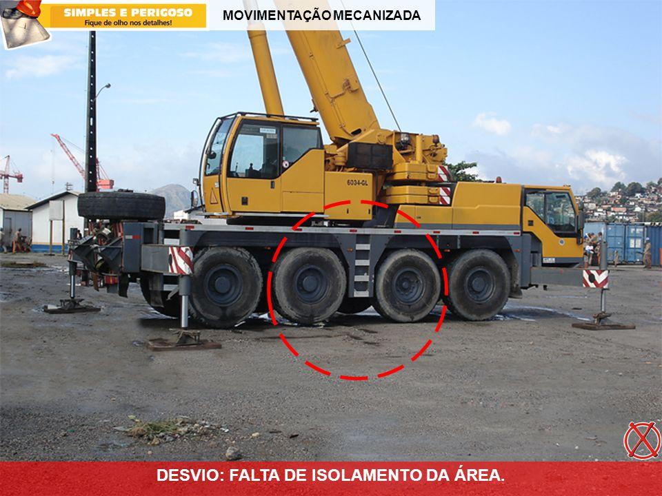 MOVIMENTAÇÃO MECANIZADA DESVIO: FALTA DE ISOLAMENTO DA ÁREA.