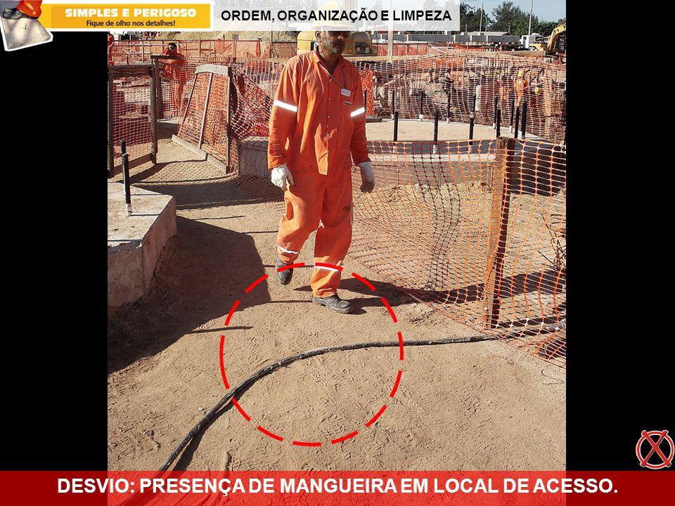 ORDEM, ORGANIZAÇÃO E LIMPEZA DESVIO: PRESENÇA DE MANGUEIRA EM LOCAL DE ACESSO.