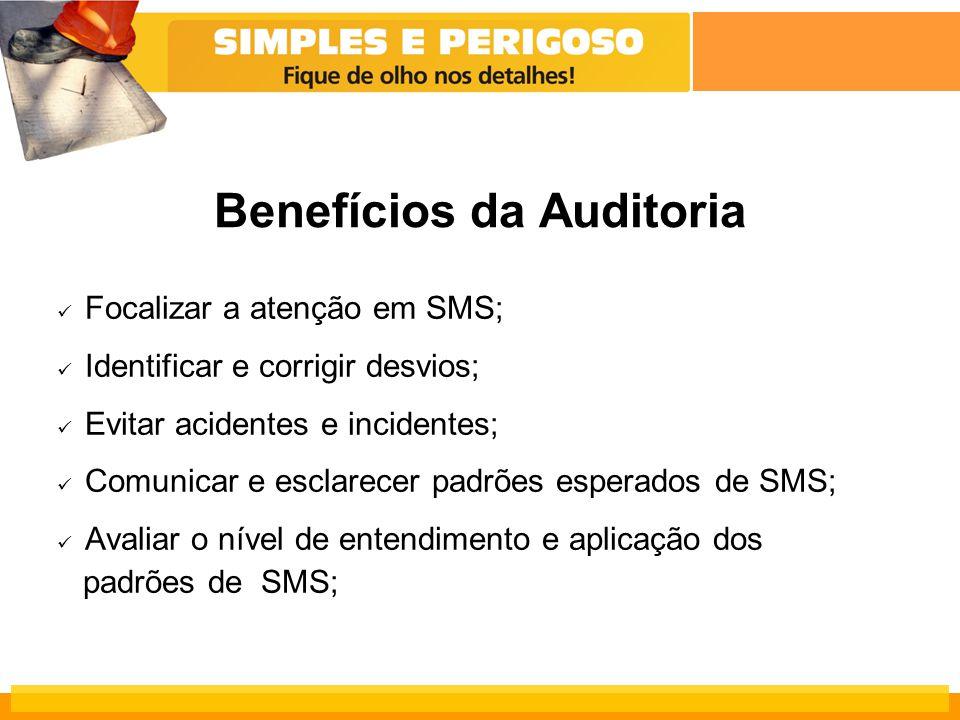 Benefícios da Auditoria Focalizar a atenção em SMS; Identificar e corrigir desvios; Evitar acidentes e incidentes; Comunicar e esclarecer padrões esperados de SMS; Avaliar o nível de entendimento e aplicação dos padrões de SMS;