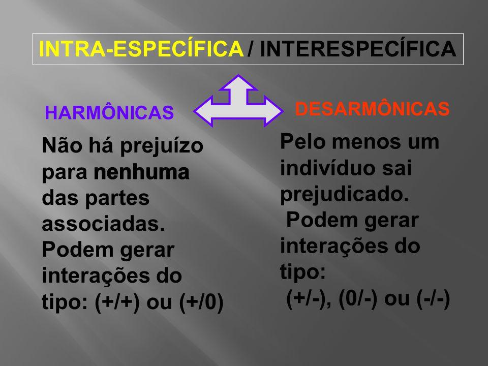 INTRA-ESPECÍFICA / INTERESPECÍFICA HARMÔNICAS DESARMÔNICAS Pelo menos um indivíduo sai prejudicado.
