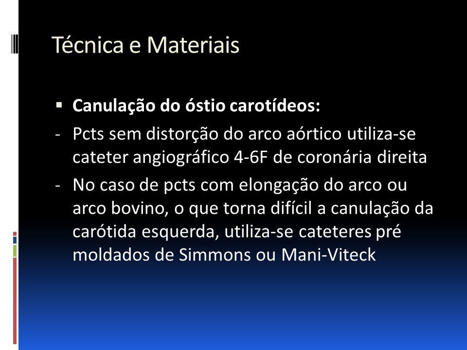 Técnica e Materiais  Canulação do óstio carotídeos: - Pcts sem distorção do arco aórtico utiliza-se cateter angiográfico 4-6F de coronária direita -