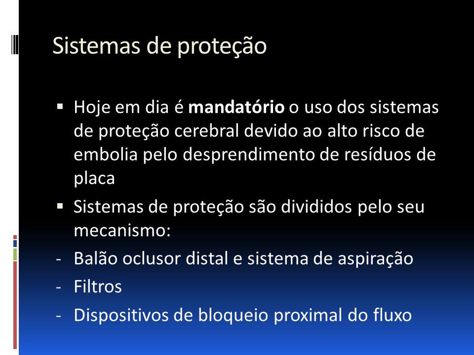 Sistemas de proteção  Hoje em dia é mandatório o uso dos sistemas de proteção cerebral devido ao alto risco de embolia pelo desprendimento de resíduo