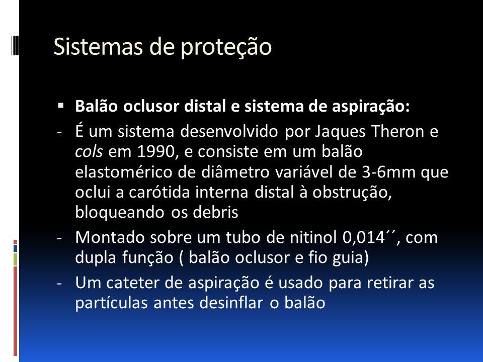 Sistemas de proteção  Balão oclusor distal e sistema de aspiração: - É um sistema desenvolvido por Jaques Theron e cols em 1990, e consiste em um bal