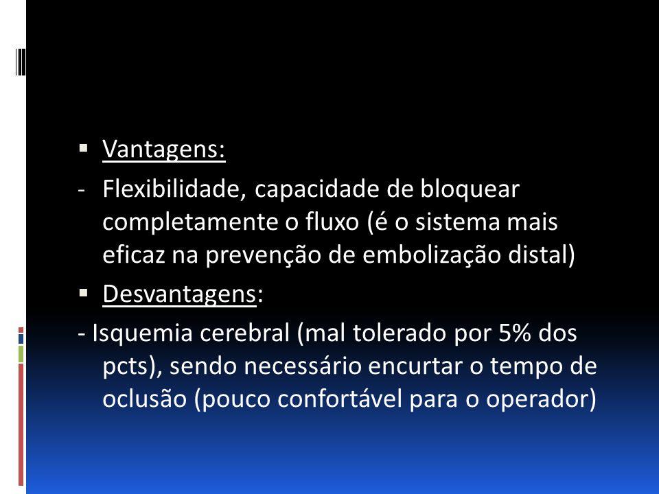  Vantagens: - Flexibilidade, capacidade de bloquear completamente o fluxo (é o sistema mais eficaz na prevenção de embolização distal)  Desvantagens