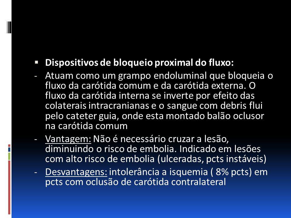  Dispositivos de bloqueio proximal do fluxo: - Atuam como um grampo endoluminal que bloqueia o fluxo da carótida comum e da carótida externa. O fluxo