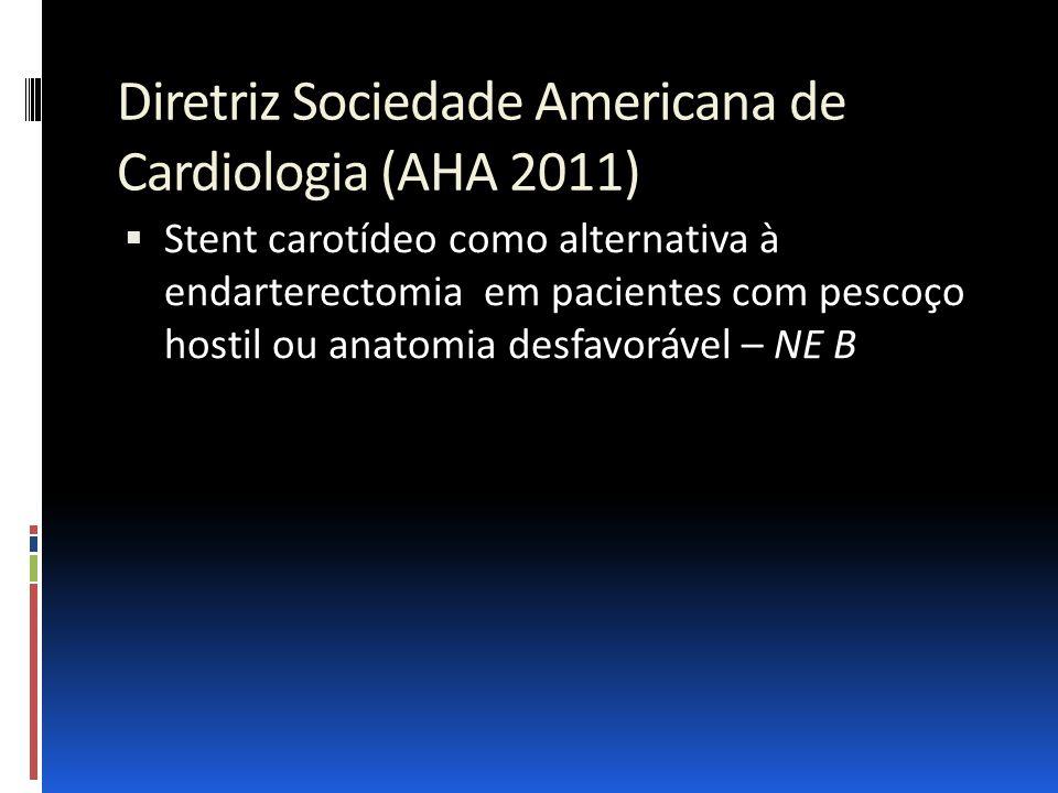 Diretriz Sociedade Americana de Cardiologia (AHA 2011)  Stent carotídeo como alternativa à endarterectomia em pacientes com pescoço hostil ou anatomi