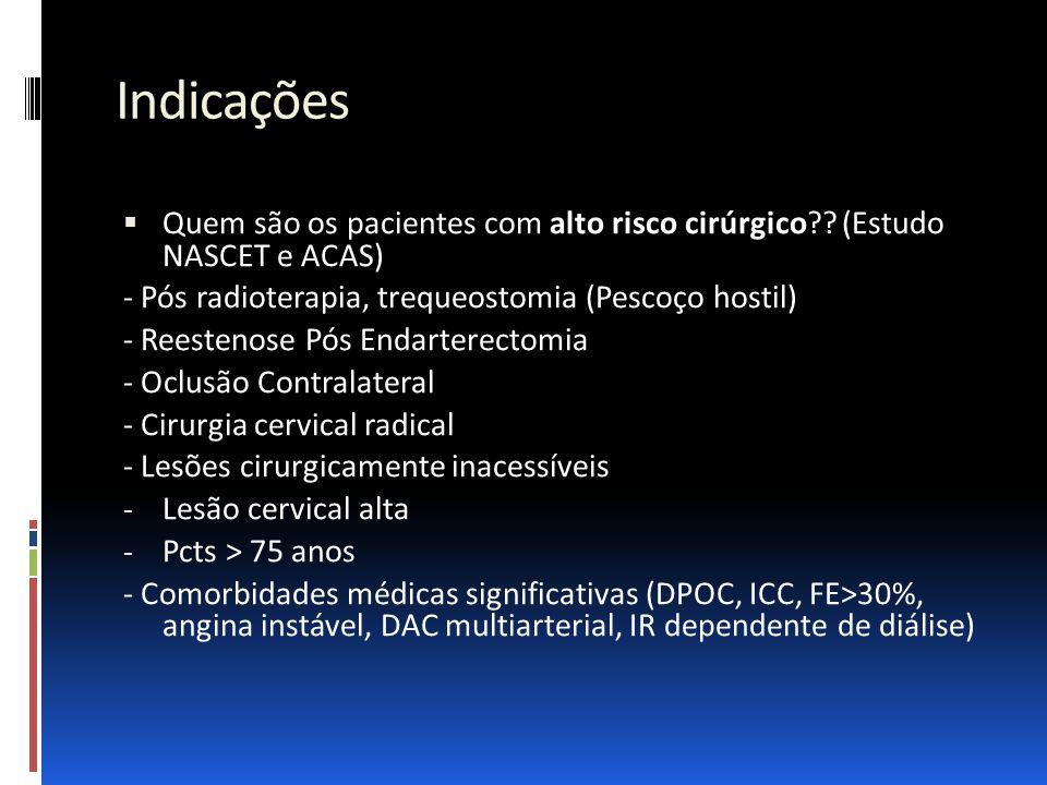 Indicações  Quem são os pacientes com alto risco cirúrgico?? (Estudo NASCET e ACAS) - Pós radioterapia, trequeostomia (Pescoço hostil) - Reestenose P