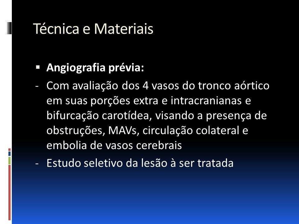 Técnica e Materiais  Angiografia prévia: - Com avaliação dos 4 vasos do tronco aórtico em suas porções extra e intracranianas e bifurcação carotídea,