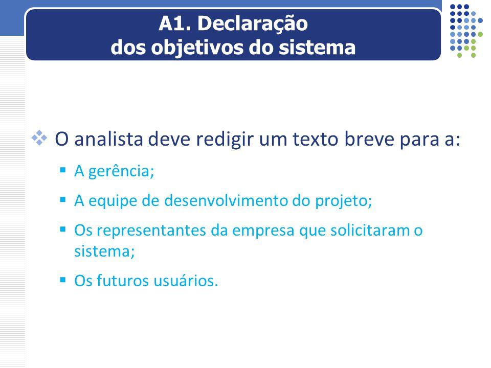  O analista deve redigir um texto breve para a:  A gerência;  A equipe de desenvolvimento do projeto;  Os representantes da empresa que solicitara