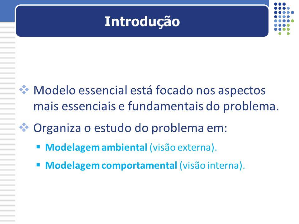  Modelo essencial está focado nos aspectos mais essenciais e fundamentais do problema.  Organiza o estudo do problema em:  Modelagem ambiental (vis