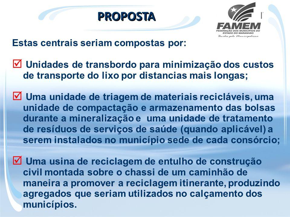 Estas centrais seriam compostas por:  Unidades de transbordo para minimização dos custos de transporte do lixo por distancias mais longas;  Uma unid