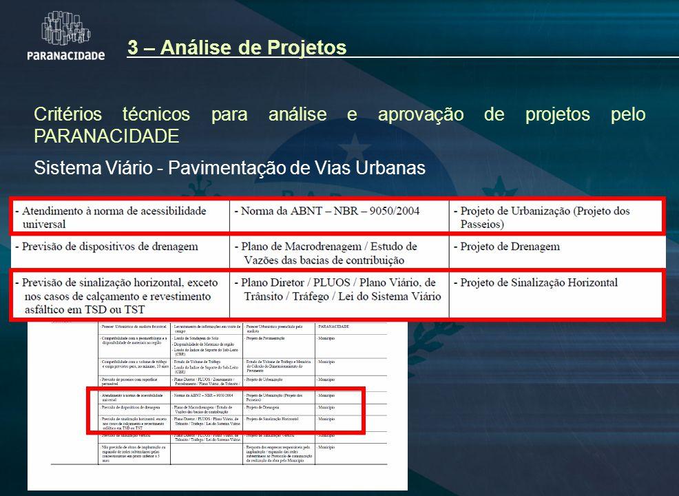 Critérios técnicos para análise e aprovação de projetos pelo PARANACIDADE Sistema Viário - Pavimentação de Vias Urbanas 3 – Análise de Projetos