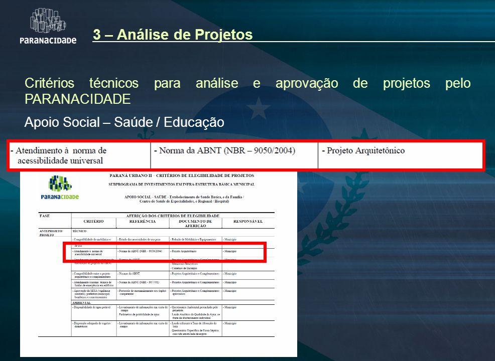 Critérios técnicos para análise e aprovação de projetos pelo PARANACIDADE Apoio Social – Saúde / Educação 3 – Análise de Projetos