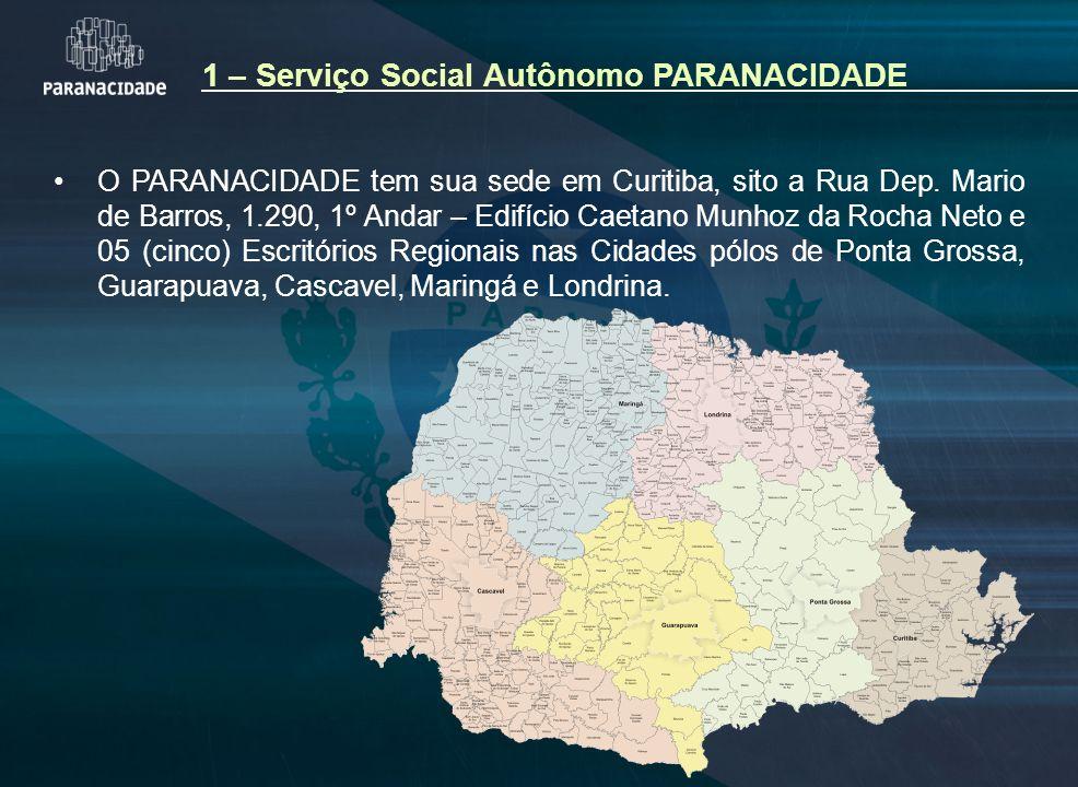 1 – Serviço Social Autônomo PARANACIDADE O PARANACIDADE tem sua sede em Curitiba, sito a Rua Dep. Mario de Barros, 1.290, 1º Andar – Edifício Caetano