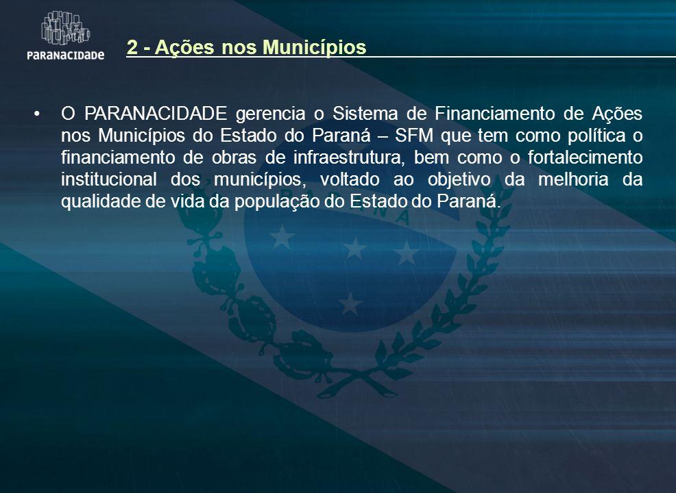 2 - Ações nos Municípios O PARANACIDADE gerencia o Sistema de Financiamento de Ações nos Municípios do Estado do Paraná – SFM que tem como política o