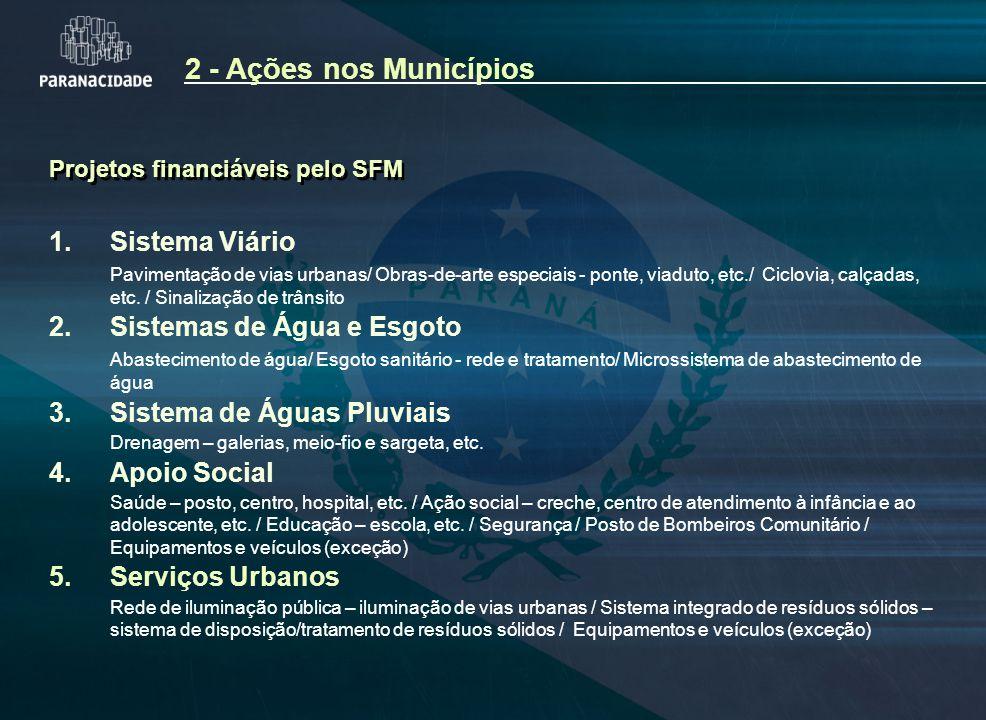Projetos financiáveis pelo SFM 1. Sistema Viário Pavimentação de vias urbanas/ Obras-de-arte especiais - ponte, viaduto, etc./ Ciclovia, calçadas, etc