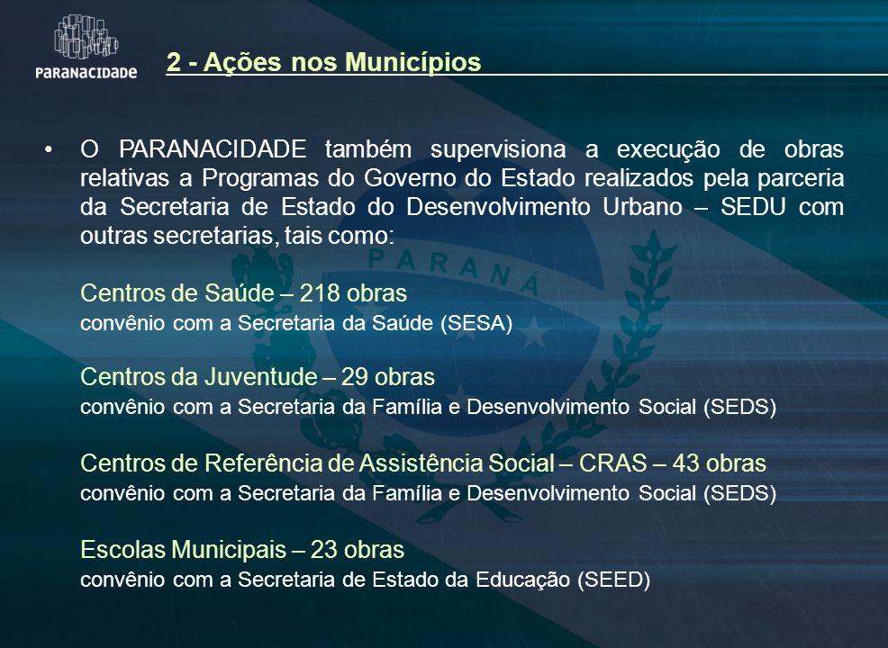 O PARANACIDADE também supervisiona a execução de obras relativas a Programas do Governo do Estado realizados pela parceria da Secretaria de Estado do