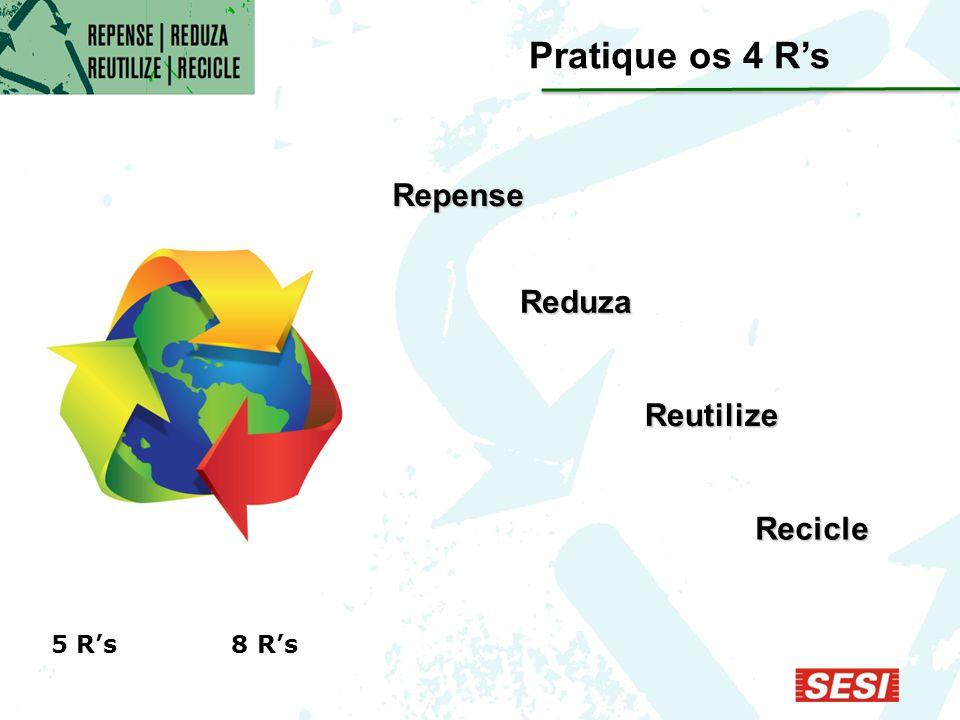 Reduza Pratique os 4 R's 5 R's 8 R's Repense Recicle Reutilize