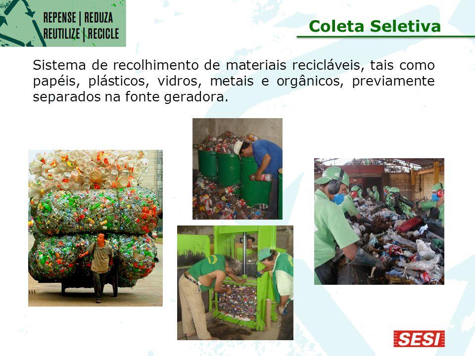 Sistema de recolhimento de materiais recicláveis, tais como papéis, plásticos, vidros, metais e orgânicos, previamente separados na fonte geradora.