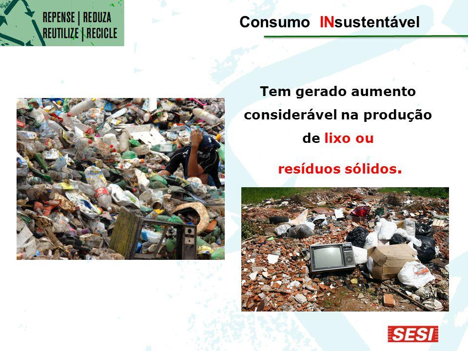 Tem gerado aumento considerável na produção de lixo ou resíduos sólidos. Consumo INsustentável