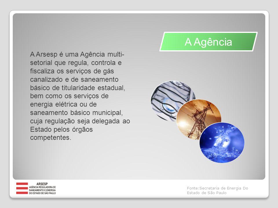 A Agência A Arsesp é uma Agência multi- setorial que regula, controla e fiscaliza os serviços de gás canalizado e de saneamento básico de titularidade estadual, bem como os serviços de energia elétrica ou de saneamento básico municipal, cuja regulação seja delegada ao Estado pelos órgãos competentes.
