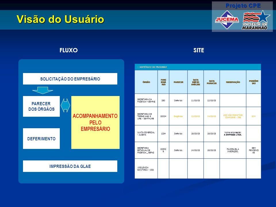 Visão do Usuário :: HISTÓRICO DO PROCESSO ÓRGÃO FUNC IONÁ RIO PARECER DATA INÍCIO ANÁLISE DATA PARACER OBSERVAÇÃO PENDÊNC IAS SECRETARIA DA FAZENDA –