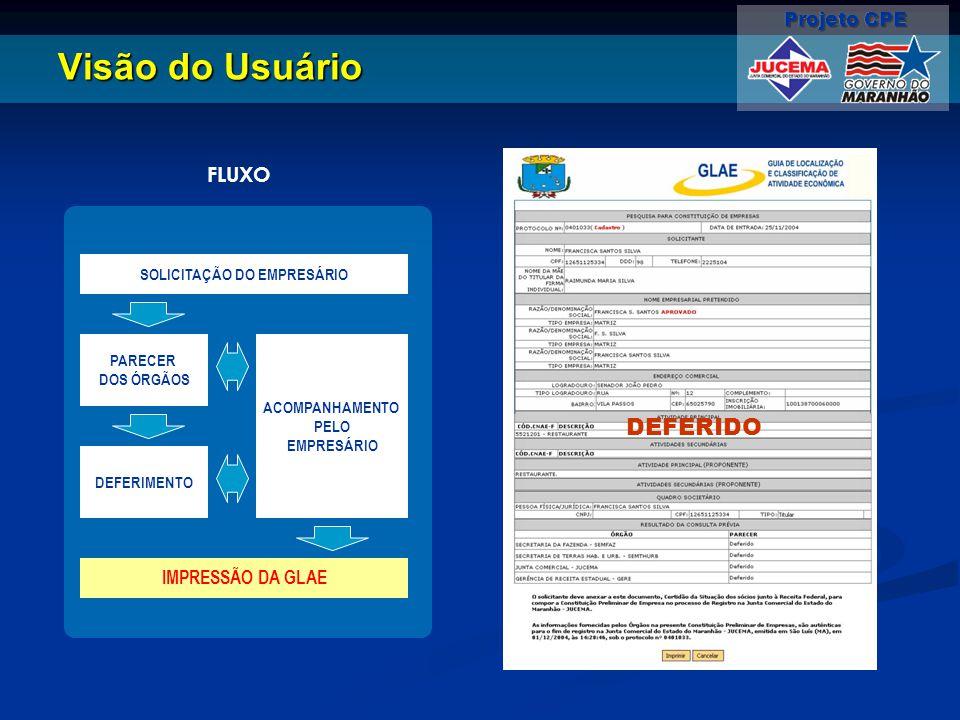 Visão do Usuário DEFERIDO SOLICITAÇÃO DO EMPRESÁRIO PARECER DOS ÓRGÃOS DEFERIMENTO IMPRESSÃO DA GLAE ACOMPANHAMENTO PELO EMPRESÁRIO FLUXO