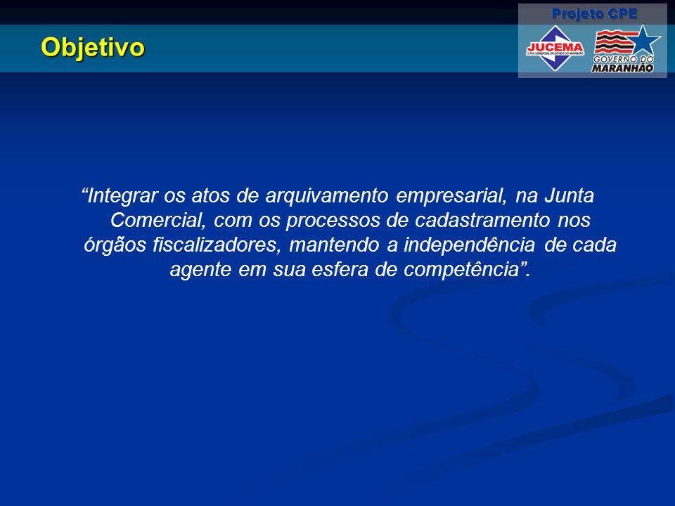 """Objetivo """"Integrar os atos de arquivamento empresarial, na Junta Comercial, com os processos de cadastramento nos órgãos fiscalizadores, mantendo a in"""