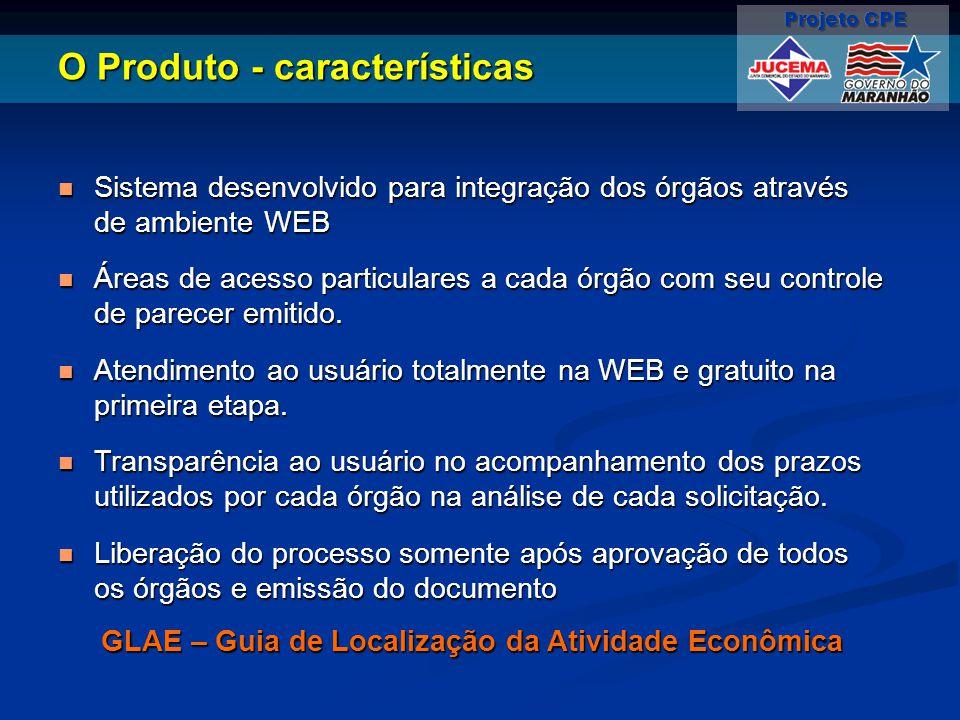 O Produto - características Sistema desenvolvido para integração dos órgãos através de ambiente WEB Sistema desenvolvido para integração dos órgãos at