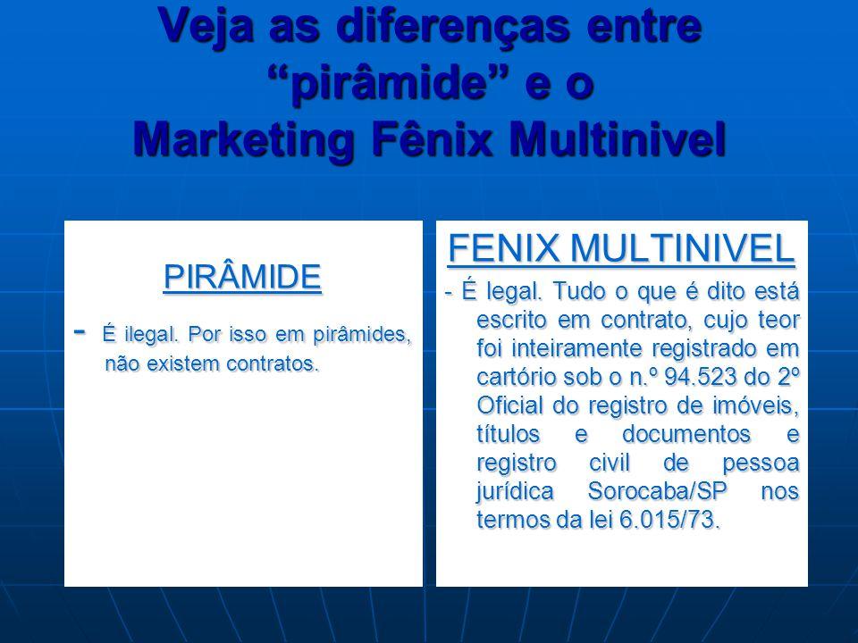 """Veja as diferenças entre """"pirâmide"""" e o Marketing Fênix Multinivel PIRÂMIDE - É ilegal. Por isso em pirâmides, não existem contratos. FENIX MULTINIVEL"""
