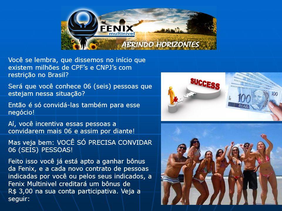 Você se lembra, que dissemos no início que existem milhões de CPF's e CNPJ's com restrição no Brasil? Será que você conhece 06 (seis) pessoas que este