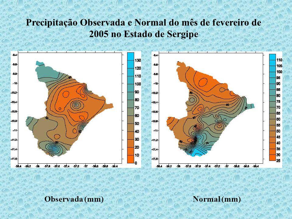 Precipitação Observada e Normal do mês de fevereiro de 2005 no Estado de Sergipe Observada (mm)Normal (mm)